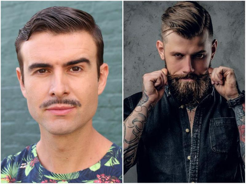 mustache with and without beard