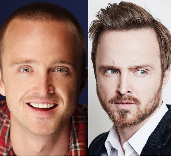 Aaron Paul with and without beard