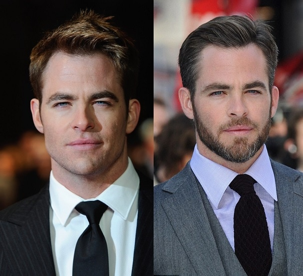 Chris Pine with and without beard