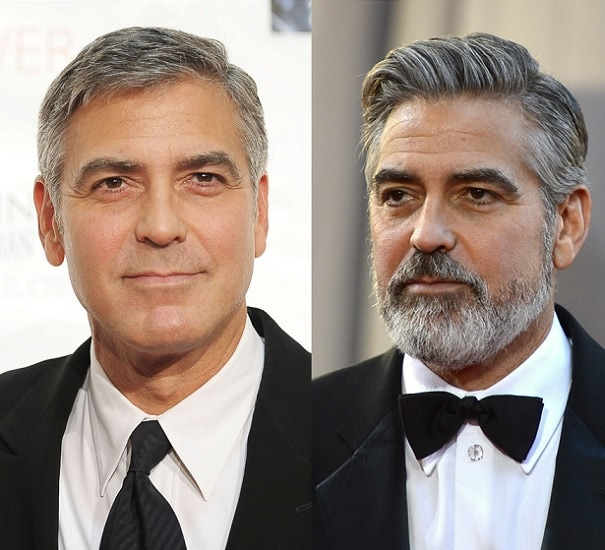 George Clooney with and without beard