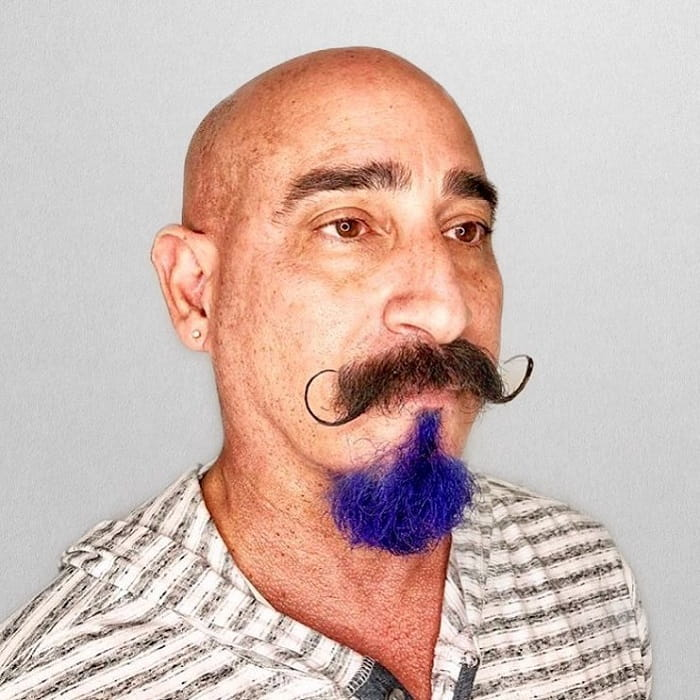 handlebar mustache with colourful goatee