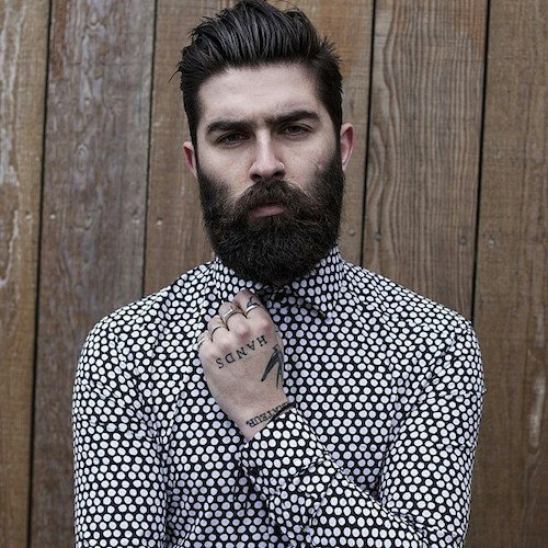 square shaped hairstyle with beard