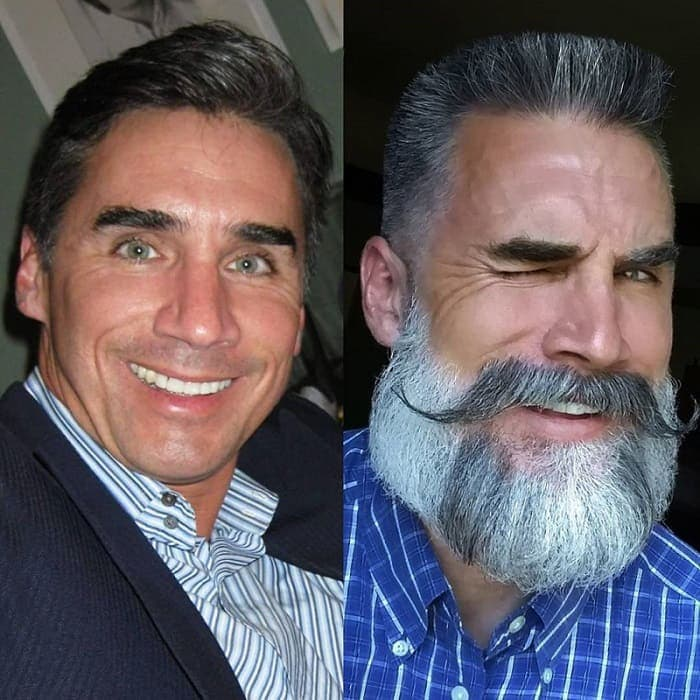 before and after look of hoary beard