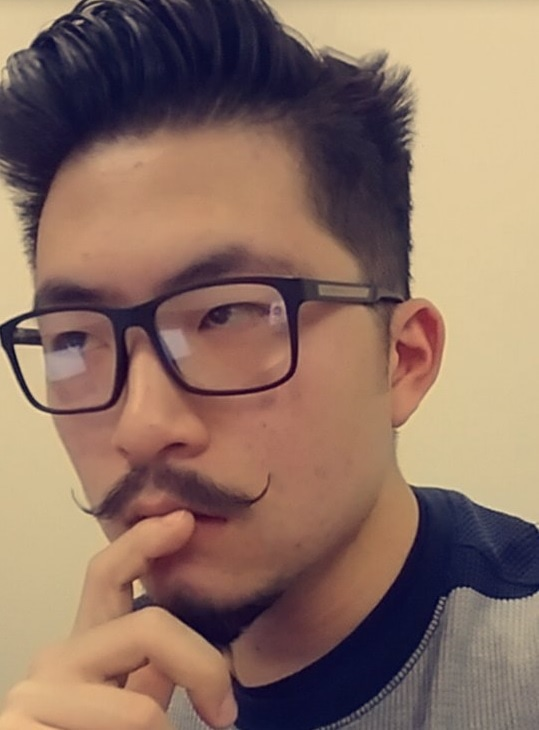 Asian Guy with Thin Handlebar Mustache