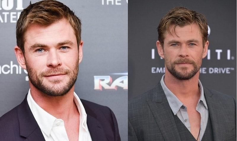 Chris Hemsworth Light Stubble with Mustache