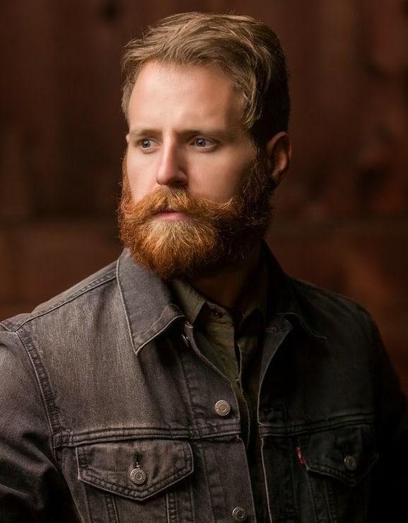 red lumberjack beard with short brown hair