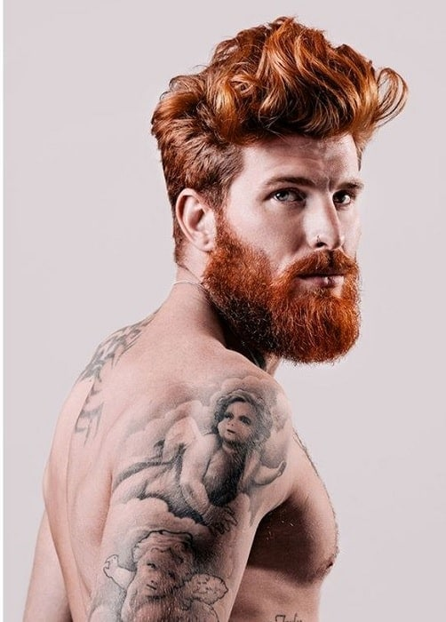 Red Boxed Beard with Long Brown Hair