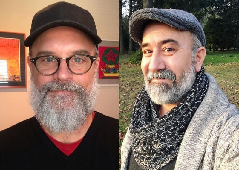 Medium length salt and pepper beard with mustache