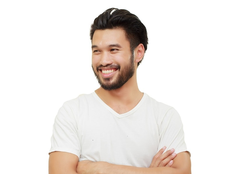chinese man with stubble beard