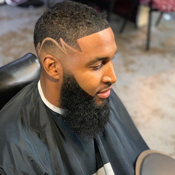 bald fade with beard for black men