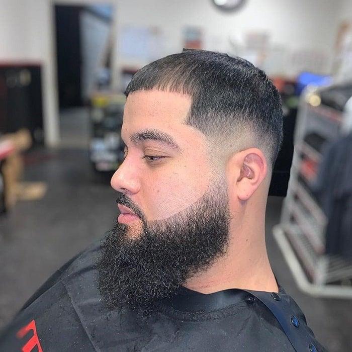 low bald fade with beard