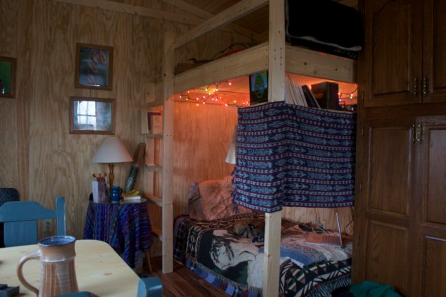 My bed, storage and guest loft above