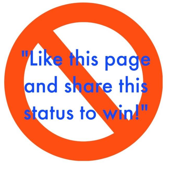 This is a BIG NO-NO on Facebook!