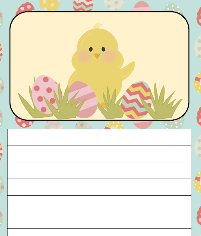 sample journal page for easter writing journal for kids