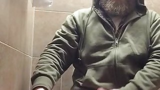 Bearded Trucker Quick Toilet Cum