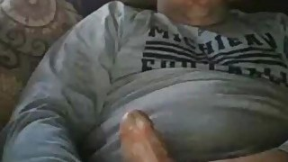 Handsome bald daddy cumming