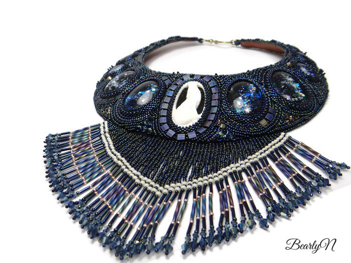 plastron Night Call, bead embroidery-collection Totem