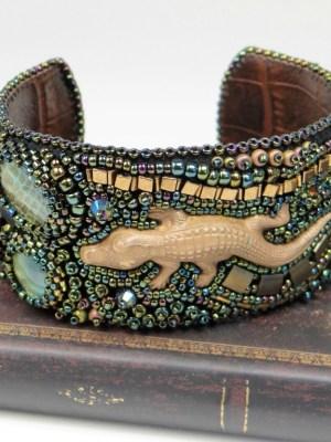 """Bracelet brodé alligator """"See You Latter"""""""