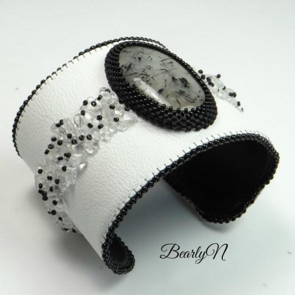 BearlyN-manchette blanche et noire en veau