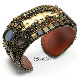 bracelet manchette brodée guépard bearly-n