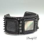 bracelet nacre noire et galuchat