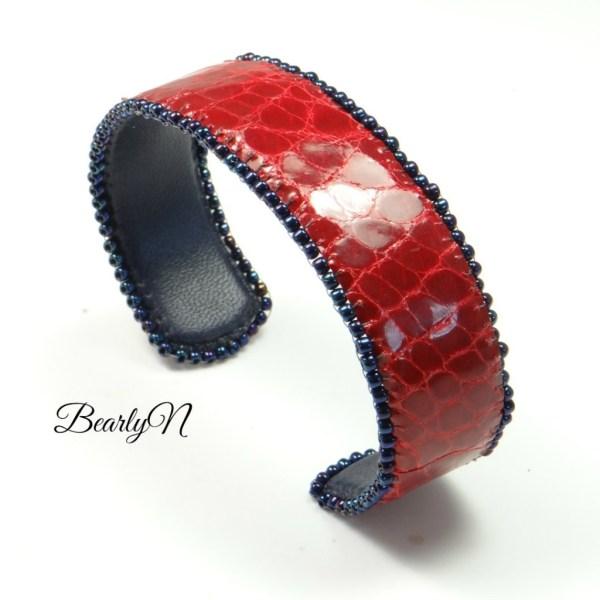bracelet manchette crocodile rouge_BearlyN