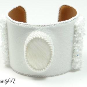 Bracelet cuir blanc et scolecite_BearlyN
