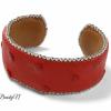 manchette cuir d'autruche rouge_BearlyN
