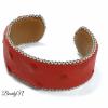 bracelet rouge en cuir d'autruche_BearlyN