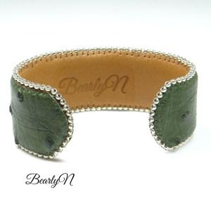 bracelet autruche vert kaki-signature BearlyN