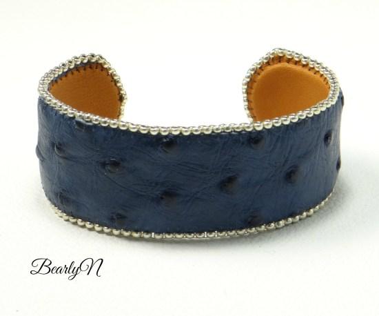 bracelet cuir autruche bleue_BearlyN