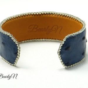 bracelet signé Bearlyn-cuir autruche bleu