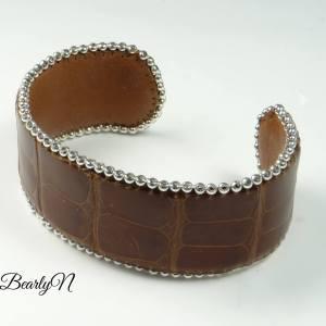 Bracelet manchette croco marron_BearlyN