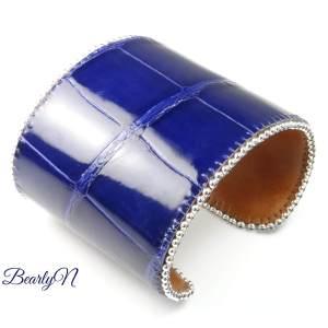 cuir de crocodile verni bleu indigo_BearlyN
