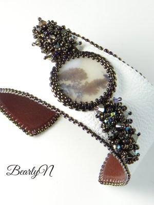 bracelet veau blanc et opale dentritique_BearlyN