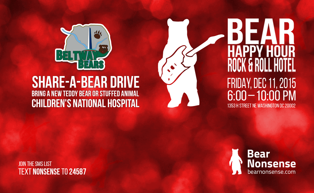Share-a-Bear at Bear Happy Hour at Rock & Roll Hotel – December 11