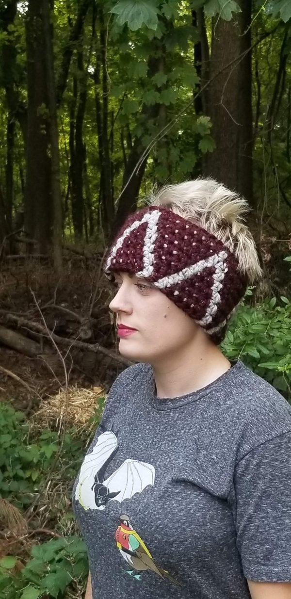 Side view of crochet headband