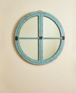 Round Window Wood Mirror