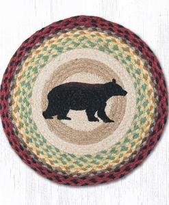 "Cabin Black Bear 15"" Round Placemat"