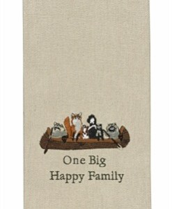 One Big Happy Family Embroidered Dishtowel