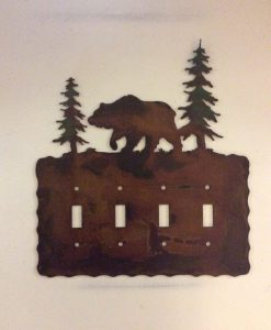 Bear Quad Toggle Switch Plate Cover