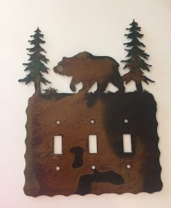 Bear Triple Toggle Switch Plate Cover