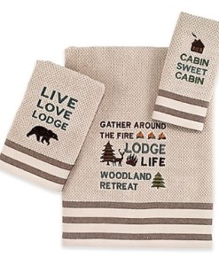 Cabin Words Canvas Towel 3 Pc Set