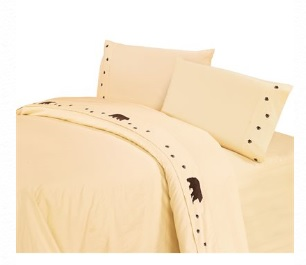 Embroidered Bear Sheet Sets-cream