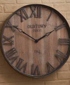 Old Town Galvanized/Wood Wall Clock