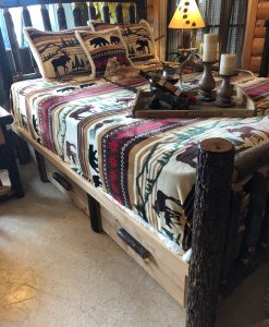 Hickory Log Bed With Under Drawers