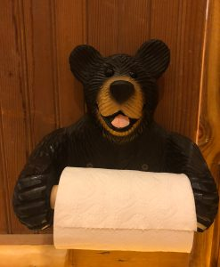 Wood Bear Toilet Paper Holder