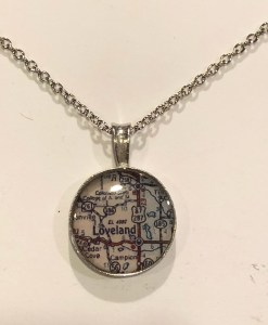 Map of Loveland or Estes Park Colorado Necklace