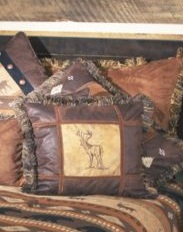 Embroidered Buck Square Pillow