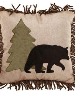 Tall Pine and Bear Pillow